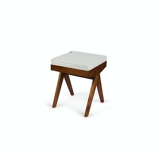 Kussen wit bench bruin1 P